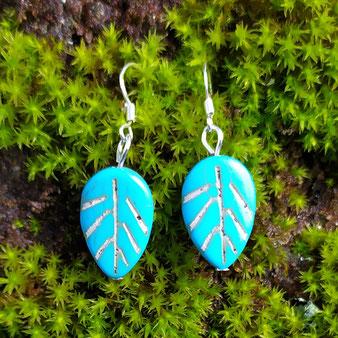"""Boucles d'oreilles chamanique """"Printemps turquoise"""" avec turquoise"""