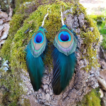 """Boucles d'oreilles chamanique """"L'oeil sauvage"""""""