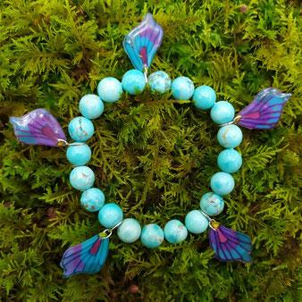 """Bracelet féérique papillon """"Envol"""" avec perles en turquoise"""