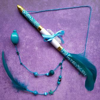 Flèche de prière turquoise avec Cristal de roche