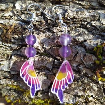"""Boucles d'oreilles papillon violet""""Métamorphose"""" avec fluorite"""