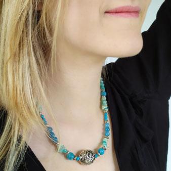 Collier d'ancrage chamanique avec turquoise et aigue-marine
