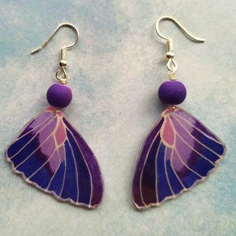 """Boucles d'oreilles féérique """"Papillon violet"""""""