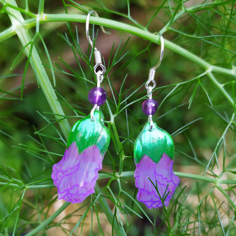 """Boucles d'oreilles féériques hibiscus """"Féminité accomplie avec perles en améthyste"""