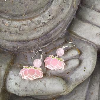 """Boucles d'oreilles féériques lotus """"Eveil"""" avec Quartz rose"""