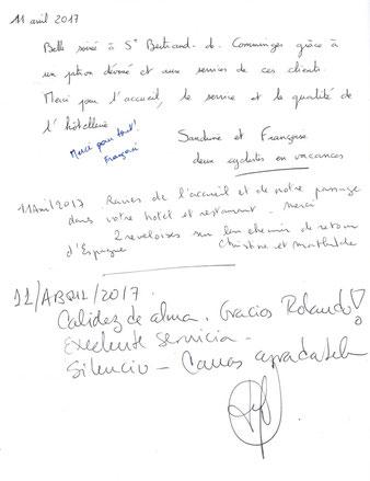 extrait du livre d'or des clients de l'hôtel restaurant l'oppidum de saint-bertrand-de-comminges