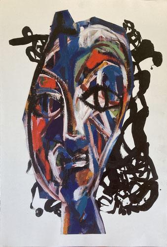 Femme à la chevelure 100/70cm - Acrylique encre et collage 2020