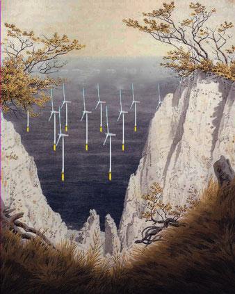 C. D. Friedrich, C.D. Friedrich, Kreidefelsen auf Rügen; Windräder, alternative Energien,
