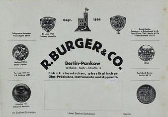 Briefkopf Fa. R. Burger & Co.