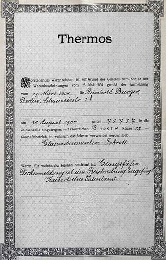 Thermos-Warenzeichenbestätigung Reinhod Burger 1904