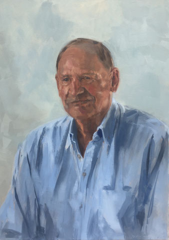 Oil painting, portrait of a gentleman in a blue shirt by artist Philine van der Vegte