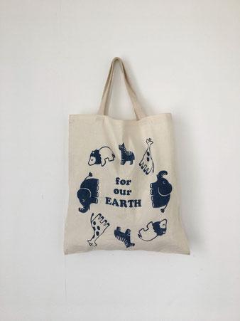 """ユーズドのトートバッグ「for our EARTH」 Used Tote Bag """"for our EARTH"""""""