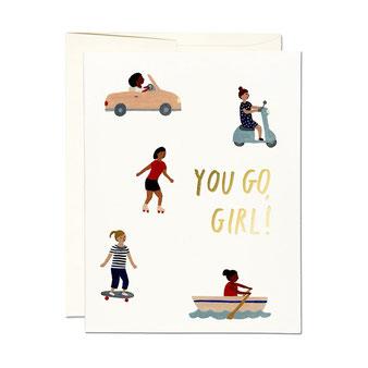 KATE PUGSLEY(ケイト・パグスリー)のイラストレーションのカード。 ポストカード グリーティングカード メッセージカード レターセット 封筒付き 絵はがき お祝い 誕生日カード バースデイカード レッドキャップカード RED CAP CARDS シック 外国 輸入 海外 インテリア おしゃれ かわいい おすすめ デザイン ブランド プレゼント ありがとう 感謝  You Go Girl