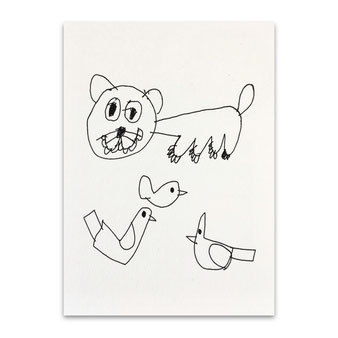 子供が書いた絵 ポストカード ダウン症 自閉症 障害のある子供 塗り絵 アート作品 芸術 美術