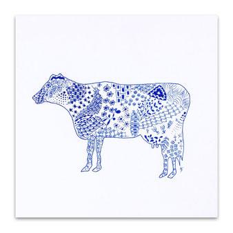メッセージカード グリーティングカード 手描き 牛 絵 イラスト 直筆 青い インク