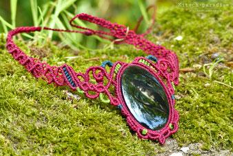 kitsch-paradise artisans créateurs collier obsidienne macramé création tissage micromacramé couleur nature art colle dentelle