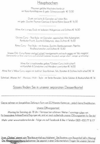 Speisekarte Madame Kim Monsieur Minh Augsburg datschiburger.kitchen Hauptspeisen
