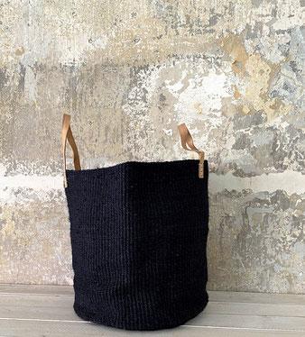 Runder Raffia Korb mit Deckel Handgemacht und Fair aus Madagaskar Grün