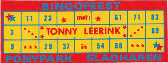 Een bingokaart van het 'Bingofeest met Tonny Leerink', jaren '80.
