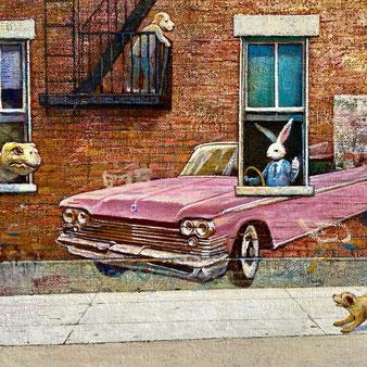 原太一・「ドライブ(部分図)」F4、キャンバスに油彩、2020年制作