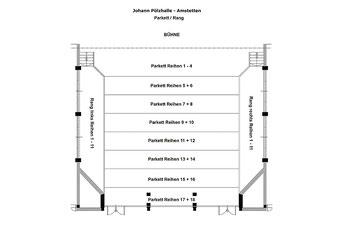 Grundrissplan Parkett und Rang der Johann Pölz Halle in Amstetten