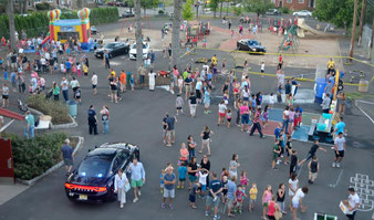 View of National Night Out in LaGrande Park from Ladder 1