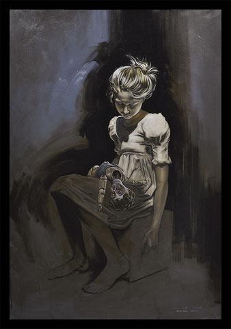 Pauvre petite poupée - Huile sur toile 89X130