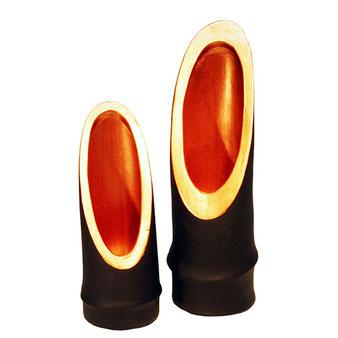 Kerzenständer aus Keramik in Bambusoptik schwarz