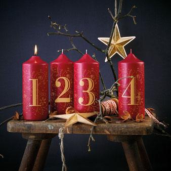 Weihnachtskerzen im 4er Set Burgunderrot - Engels Kerzen