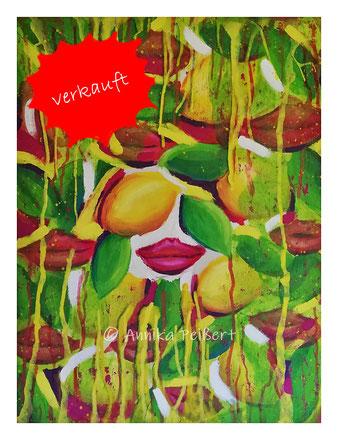 Acryl und Pastell-Ölkreide auf Baumwoll-Leinwand, ca. 100 x 85 cm
