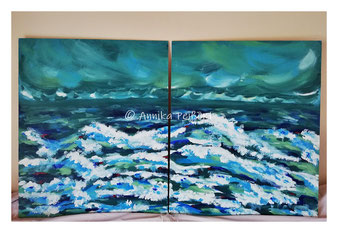 Acryl auf Leinwand auf Holzträger, 50 x 60 (2 Stück)