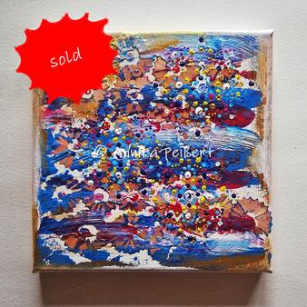 Spitzreste und Acryl auf Keilrahmen, 20 x 20 cm