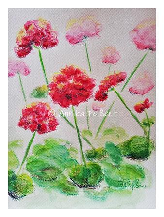 Aquarellfarbe, -stifte auf 220g Aquarellpapier, DIN A4