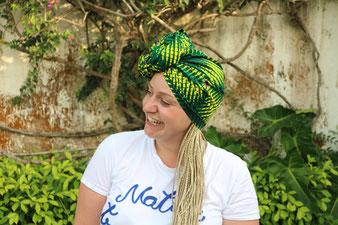 Turban en wax à nouer - Turban Africain - Turban vert