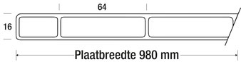 16 mm AC Kanaalplaat 2-wandig | SDP16-AC64 helder schets