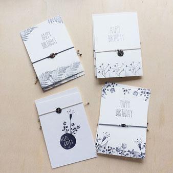 Armbänder mit Glückwunschkarten