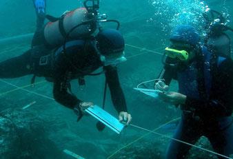 Matériel de mesure et de relevé nécessaire en fouille archéologique sous-marine comme terrestre (décamètres, mires, niveaux, carroyage, planchettes...)