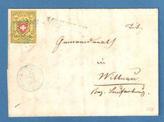 """An den """"Titulierten Gemeinderath"""" adressiert, mit 10 Rp. frankiert und in Möhlin und Rheinfelden abgestempelt"""
