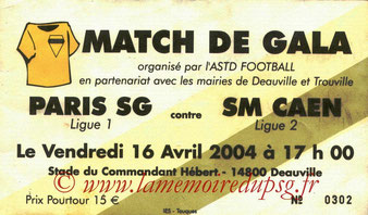 Ticket  Caen-PSG  2003-04