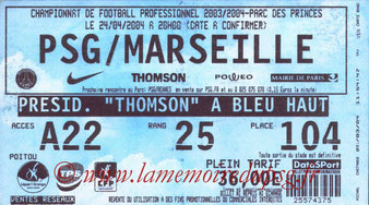 Ticket  PSG-Marseille  2003-04