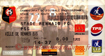 Ticket  Rennes-PSG  2003-04