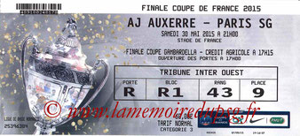 Ticket  PSG-Auxerre  2014-15