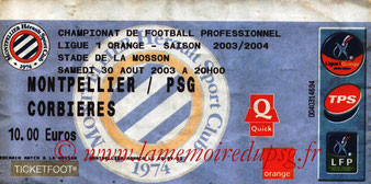 Ticket  Montpellier-PSG  2003-04