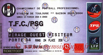 Ticket  Toulouse-PSG  2003-04