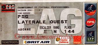 Ticket  Guingamp-PSG  2003-04