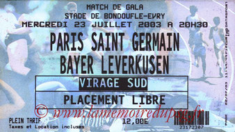 Ticket  PSG-Bayer Leverkusen  2003-04