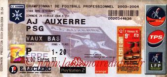 Ticket  Auxerre-PSG  2003-04