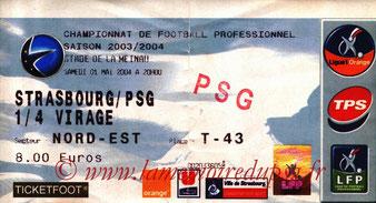 Ticket  Strasbourg-PSG  2003-04