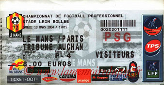 Ticket  Le Mans-PSG  2003-04