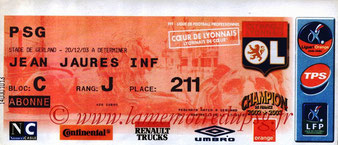 Ticket  Lyon-PSG  2003-04